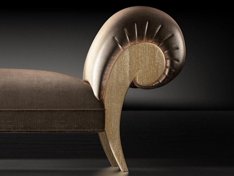 Chaisse longue tapizada con detalles en roble.Mod: IMPERIUM ROBLE