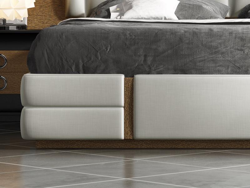 Cama completa en roble , lacada y tapizada. Mod:ZIBA