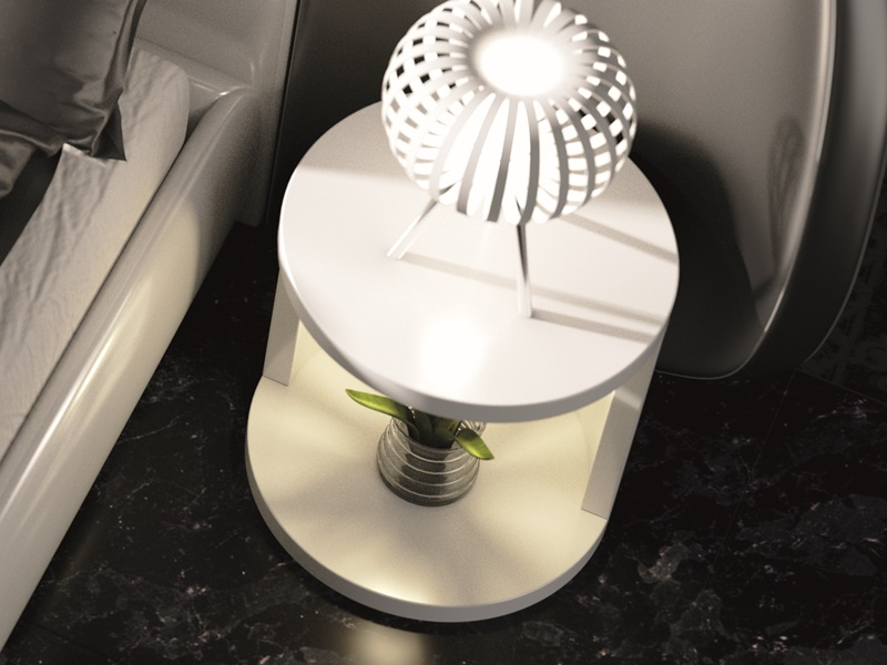 Mesitas velador lacadas con luz led.Mod: AYSEL