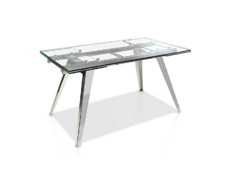Mesa de comedor extensible con tapa cristal templado y patas de acero inox. Mod. LOTUS