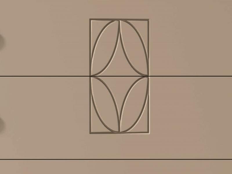 C�moda lacada de 4 cajones con grabado central.Mod: LLANOS