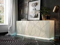 Aparador lacado con zócalo y luz led.Mod: NAUGE