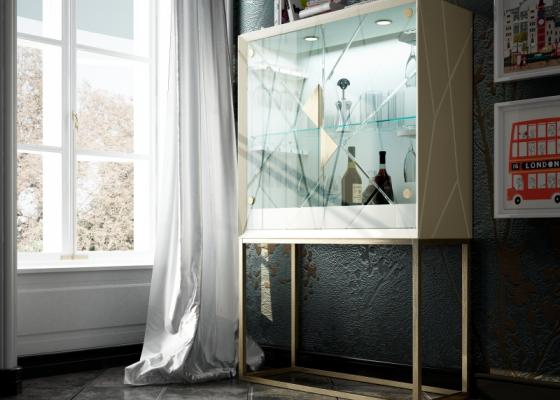 Mueble bar de diseño con puertas de cristal. Mod: NAUGE GLASS