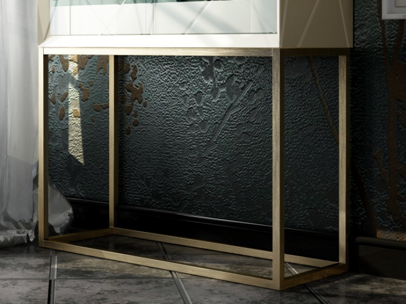 Mueble bar de dise�o con puertas de cristal. Mod: NAUGE GLASS