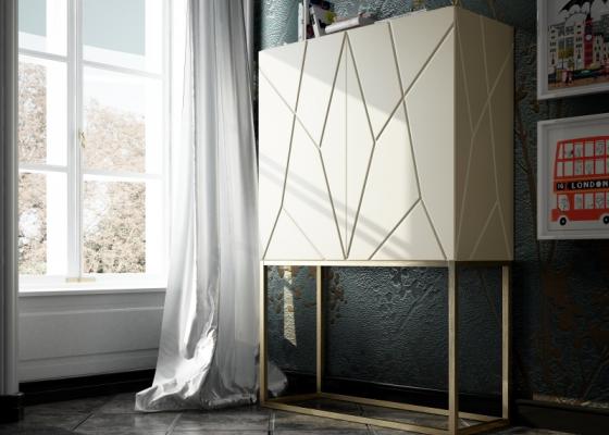 Mueble bar de diseño con puertas de madera.Mod: NAUGE