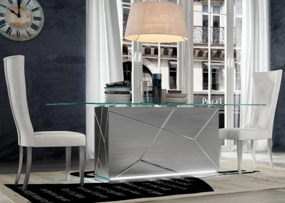 Mesa de comedor fija con tapa de cristal. Mod: NAUGE