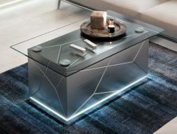 Mesa de centro de diseño con tapa de cristal. Mod: NAUGE