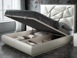 Cama completa tapizada y lacada con luz led incorporada y canapé abatible: Mod: NAUGE LED