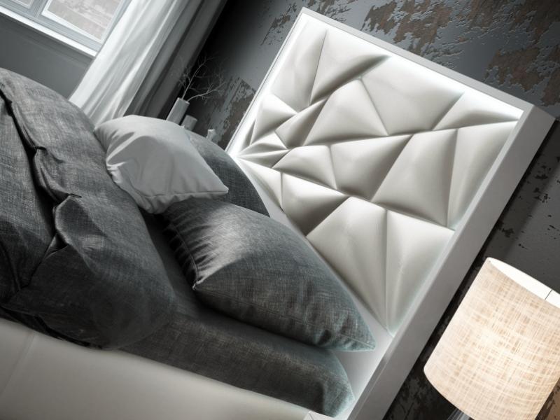 Cama completa tapizada y lacada con luz led incorporada y canap� abatible: Mod: NAUGE LED
