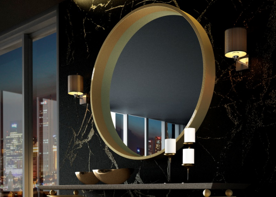 Espejo circular metálico.Mod: CERVO