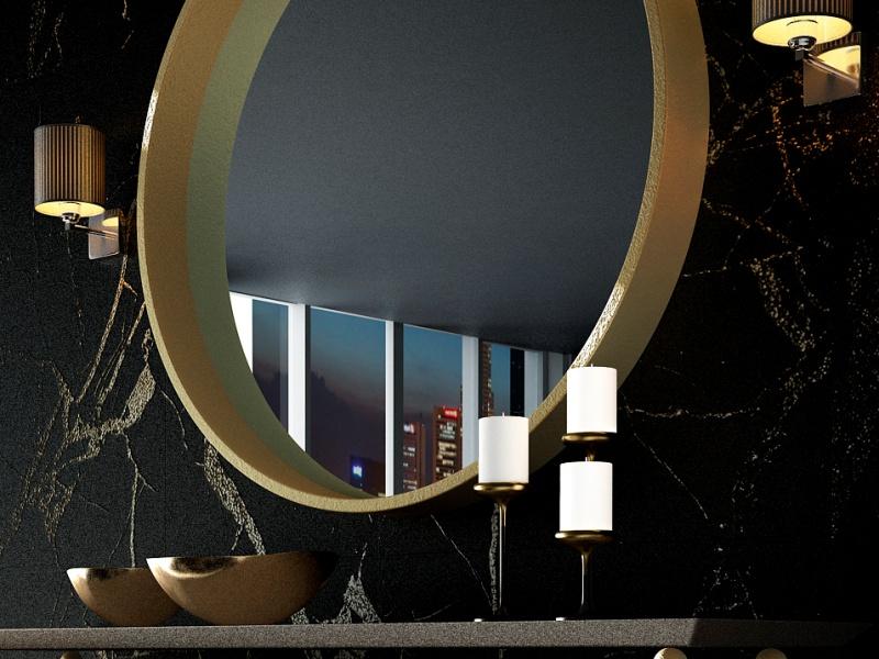 Espejo circular met�lico.Mod: CERVO