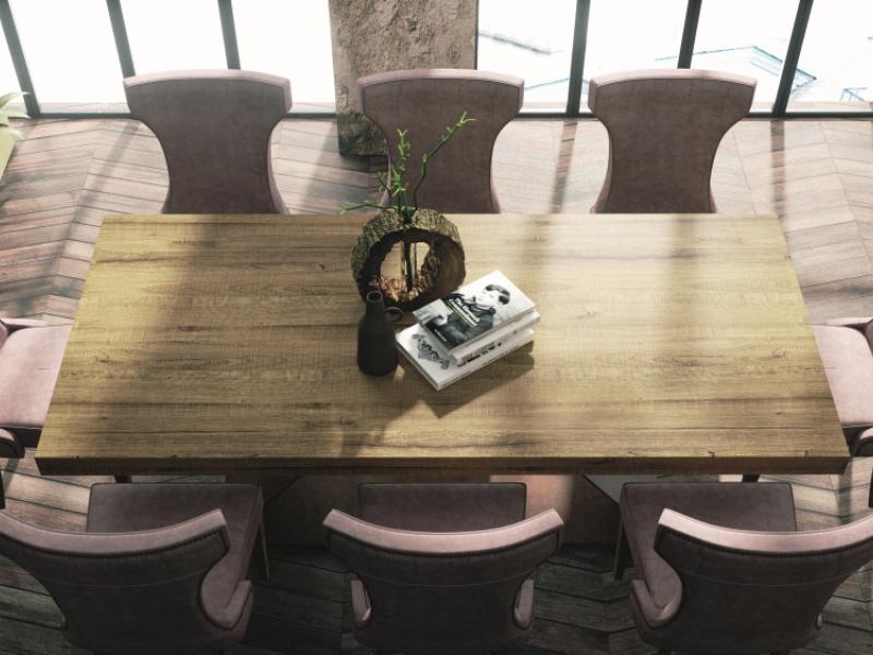 Mesa de comedor extensible tapa en roble. Mod: NAMUR