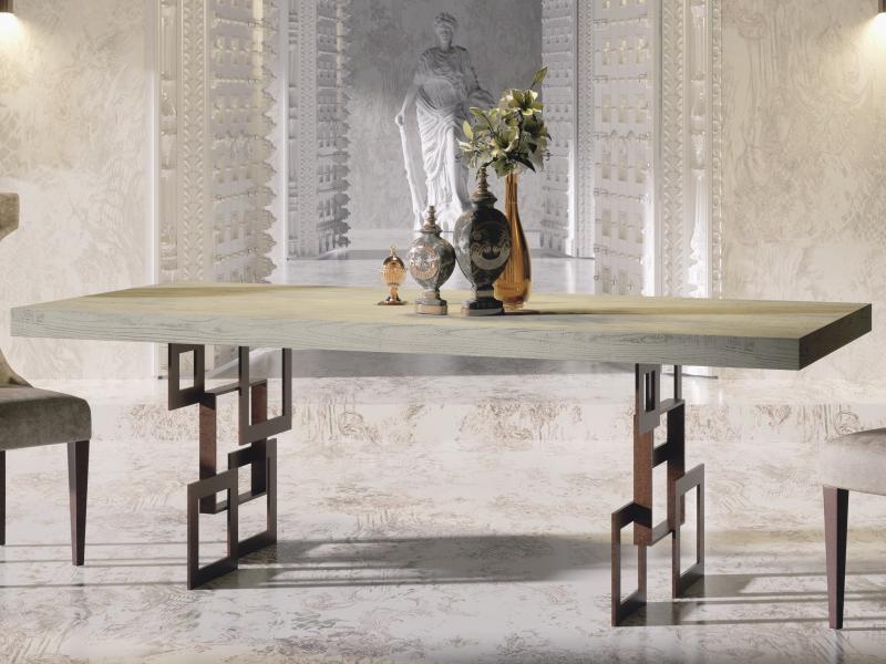 Mesa de comedor extensible tapa en roble. Mod: MONS