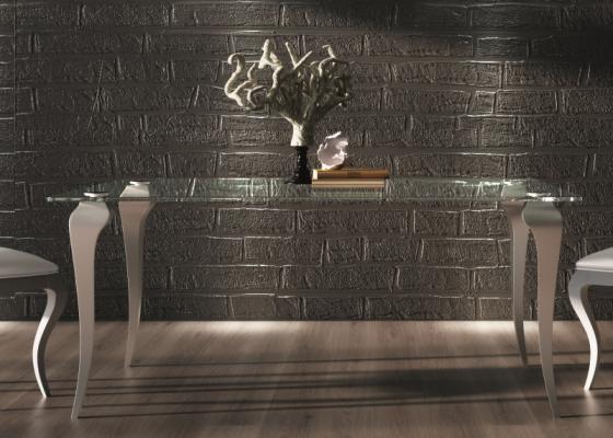 Mesa de comedor fija con tapa de cristal . Mod: EUPEN