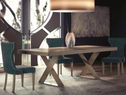 Mesa de comedor extensible tapa en roble. Mod: DINANT