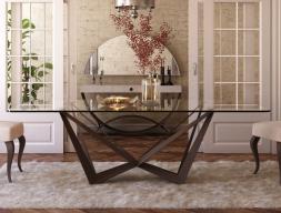 Mesa de comedor fija con tapa de cristal templado. Mod: VERNAZZA