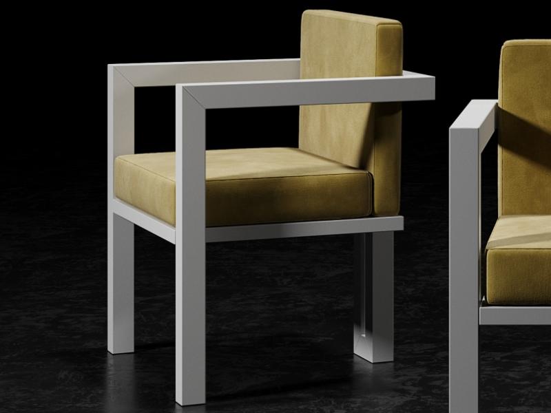 Sillas tapizadas con estructura en hierro lacado. Mod: ELIETTE