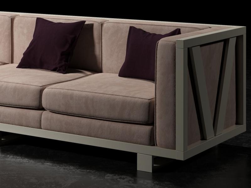 Sof� tapizado con estructura en hierro lacado. Mod: LEORA 3