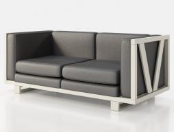 Sofá tapizado con estructura en hierro lacado. Mod: LEORA 2