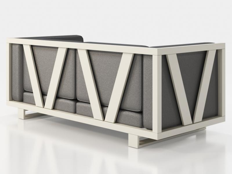 Sof� tapizado con estructura en hierro lacado. Mod: LEORA 2
