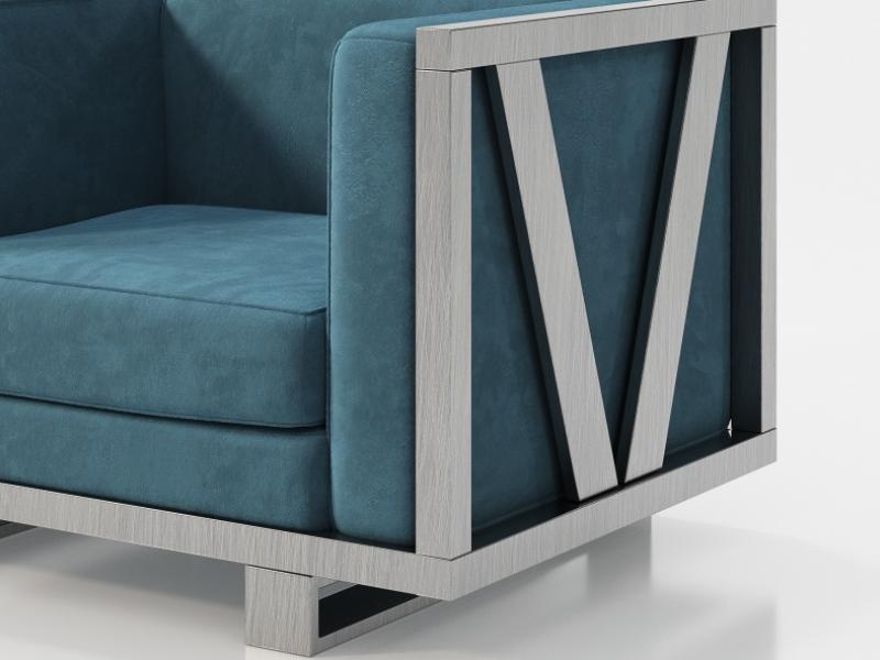Sill�n tapizado con estructura en hierro lacado. Mod: LEORA