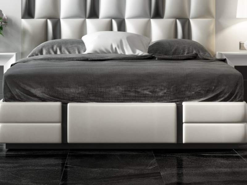 Cama completa lacada y tapizada con cabecero XXL. Mod: MELINA