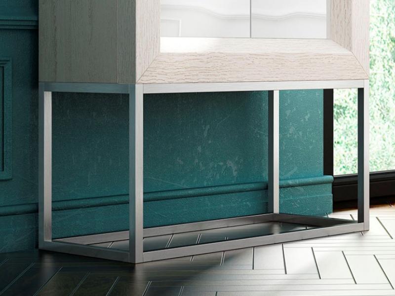 Mueble bar de dise�o  en roble con puertas lacadas.Mod: MELINA