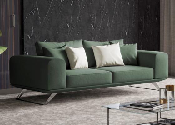 Sofá moderno con base en acero inoxidable. Mod:VERONA