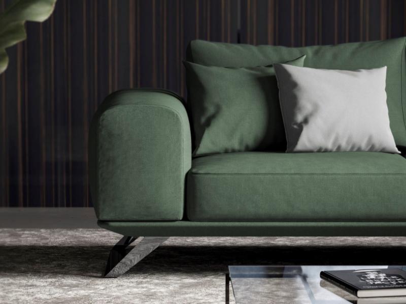 Sof� moderno con base en acero inoxidable. Mod:VERONA
