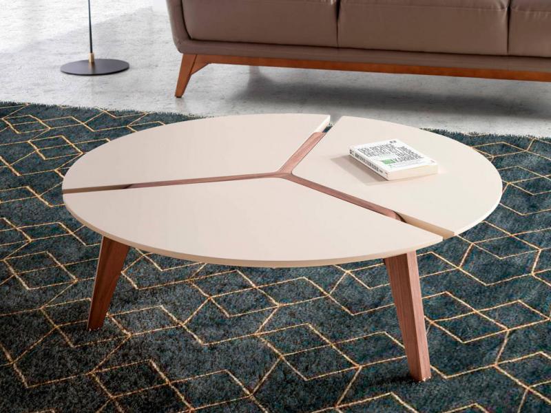 Mesa de centro redonda en nogal con tapa lacada. Mod: LAURA