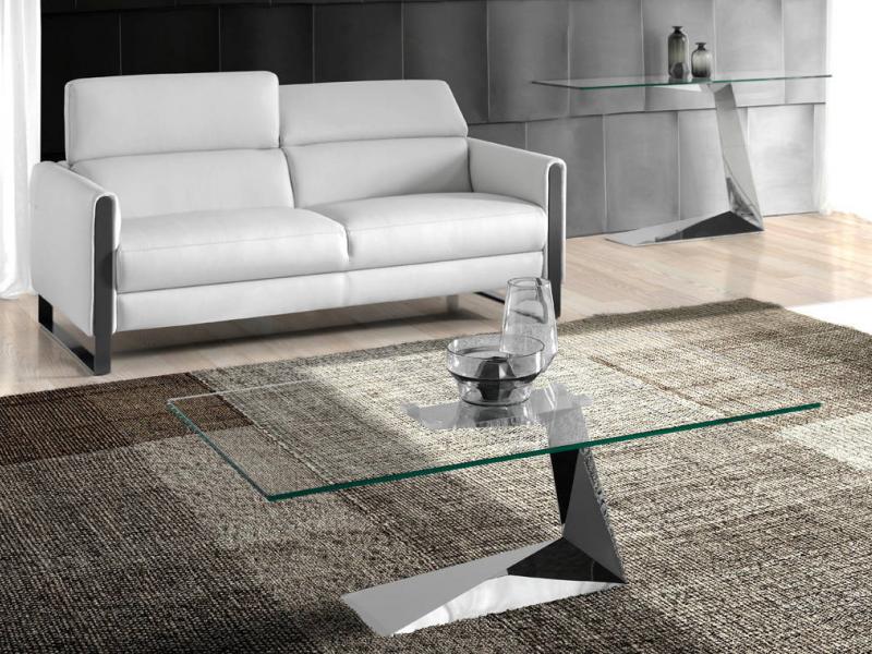 Mesa de centro con base en acero inoxidable y tapa de cristal. Mod: SARA