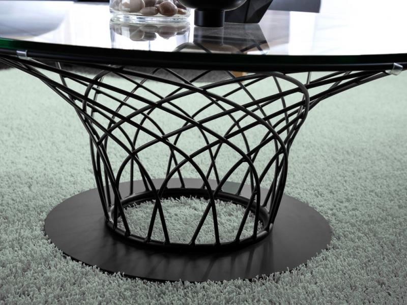 Mesa centro lacada con tapa de cristal.Mod: LORENA