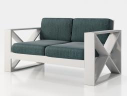 Sofá tapizado con estructura en hierro lacado. Mod: ELIETTE