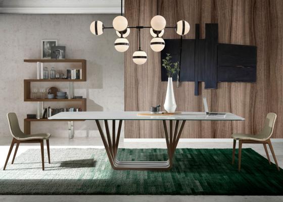 Mesa de comedor con tapa de mármol cerámico, mod: MILAN MARMOL