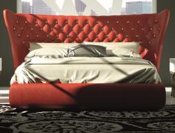 Cama completa tapizada en capitonne con botones de cristal de Swarovski. Mod: GOLDA