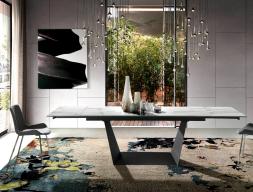 Mesa de comedor extensible con tapa cerámica. Mod. ALMAGRO