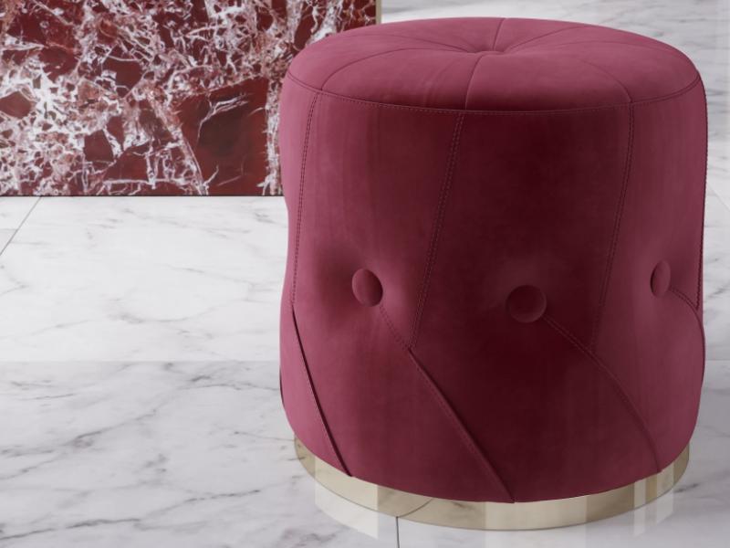 Pouff  tapizado en capitonne con botones.Mod: NUBE