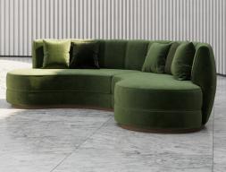 Sofá de diseño circular tapizado en terciopelo.Mod: DREAM