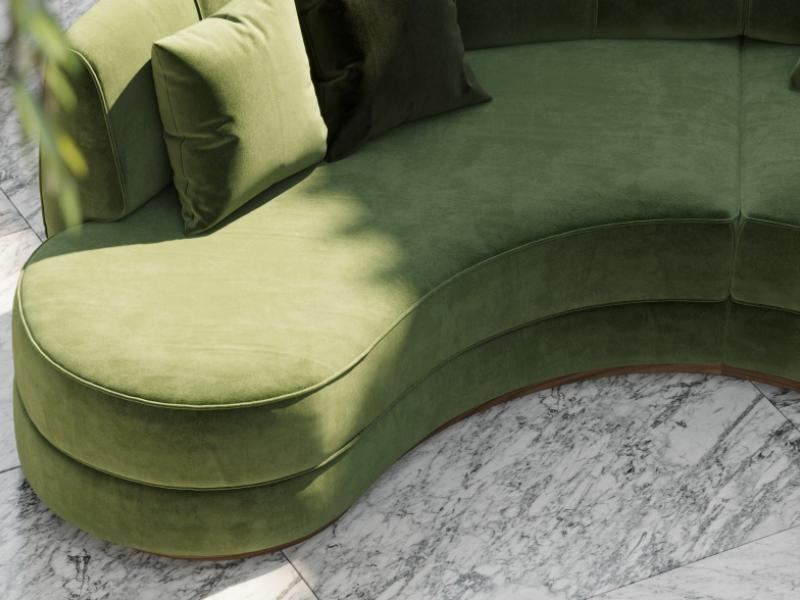 Sof� de dise�o circular tapizado en terciopelo.Mod: DREAM