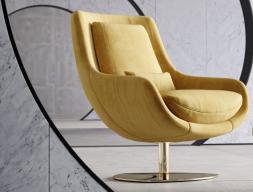 Sillón relax giratoria tapizado. Mod: TELVA