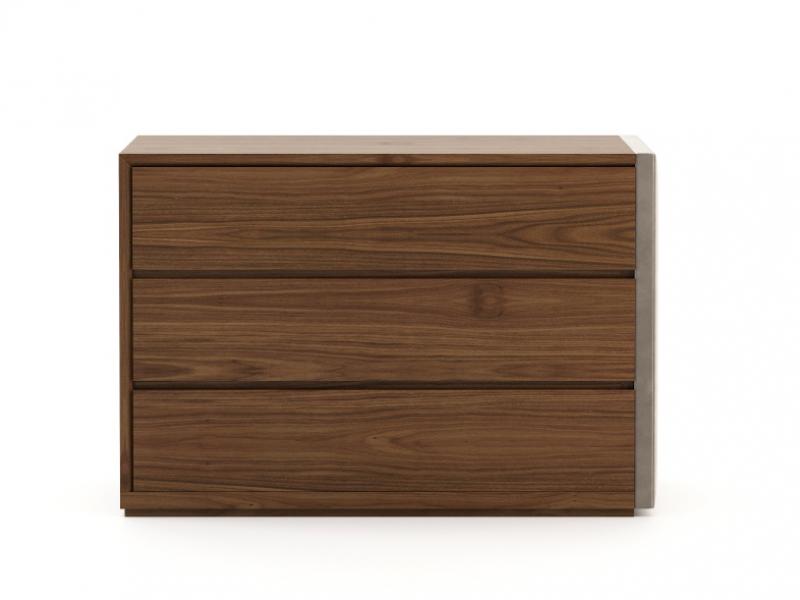 C�moda de 3 cajones en madera y tapizado. Mod: DORIANNE