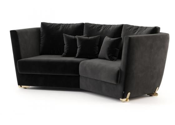 Sofá de diseño con patas en acero inoxidable.Mod: ARYANA 2P