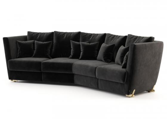 Sofá de diseño con patas en acero inoxidable.Mod: ARYANA 3P