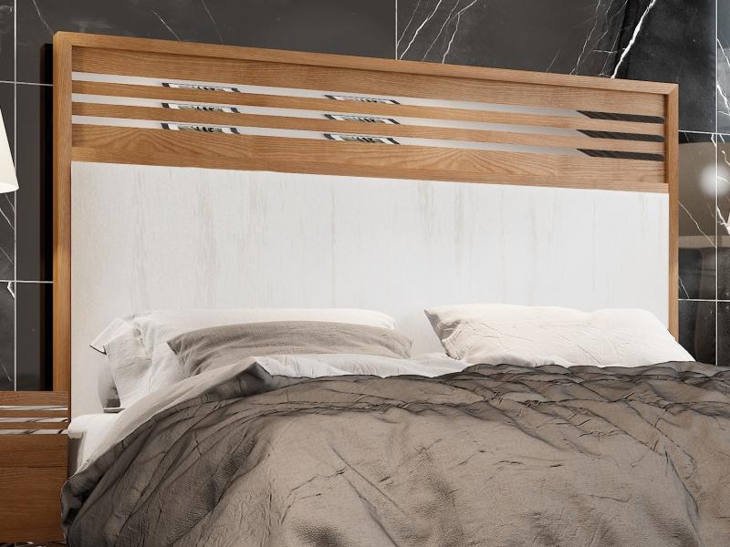 Cama completa en madera de nogal con cabecero tapizado : Mod: ACIER