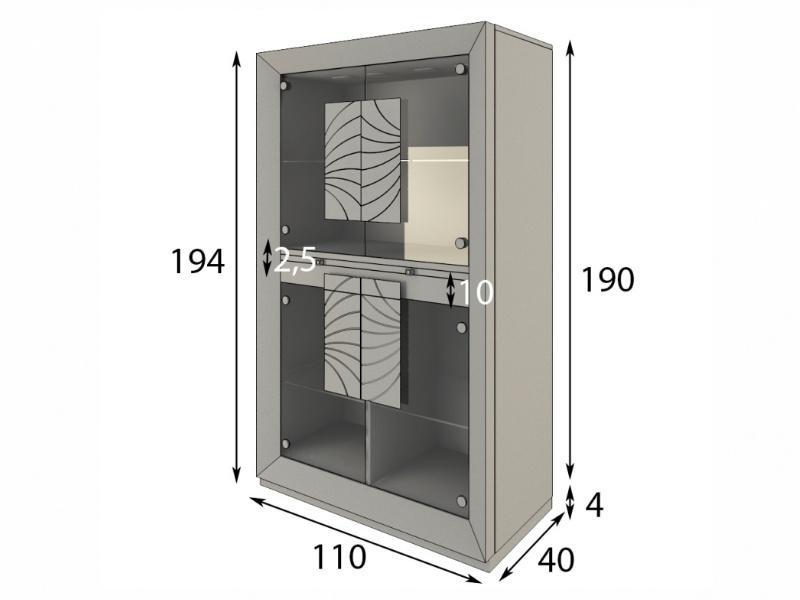 Vitrina expositora con puertas de cristal y luz led. Mod: MERLOT