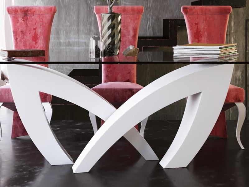 Mesa de comedor con tapa de cristal templado, mod: SEINE