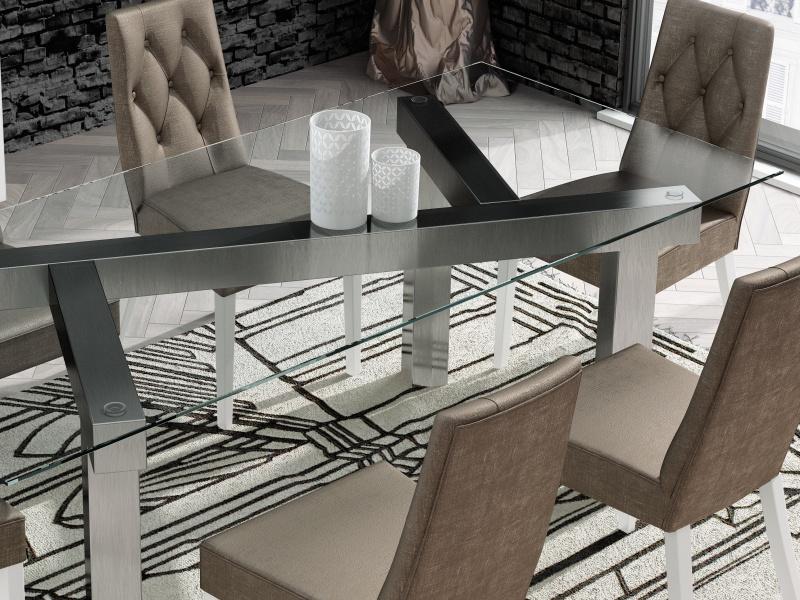 Mesa de comedor fija con tapa de cristal templado. Mod: CARAVAGGIO