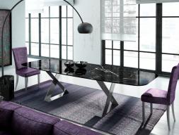 Mesa de comedor con tapa de mármol. Mod: NERO