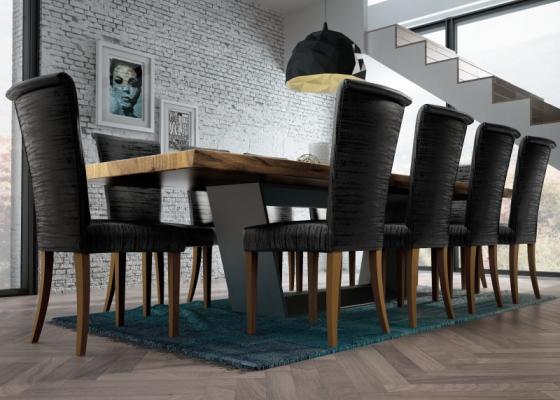 Mesa de comedor fija con tapa de madera de fresno. Mod: BERN