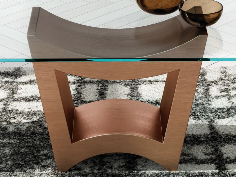 Mesa de comedor fija con tapa de cristal templado. Mod: TRIANA